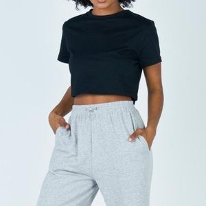 Princess Polly Cropped Black Tee Size 6